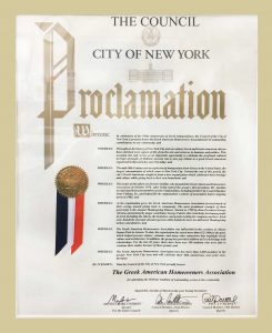 The Council City of New York Honored the Greek American Homeowners Association